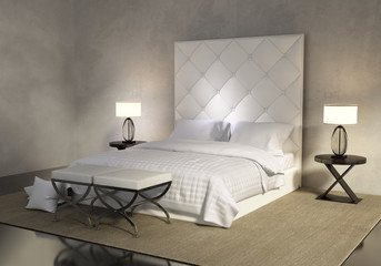 Luxury contemporary white bedroom with buttoned bed