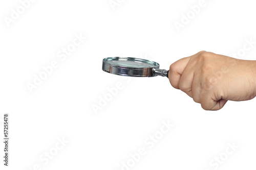 hand holding magnifying glass isolated on white background with