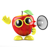 3d Apple shouts through a loud hailer