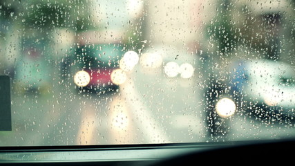 Car windshield with rain drops