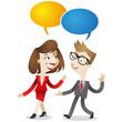 Business people, conversation, communication