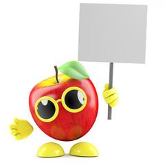 3d Apple holds a blank placard