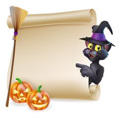 Halloween black cat Scroll