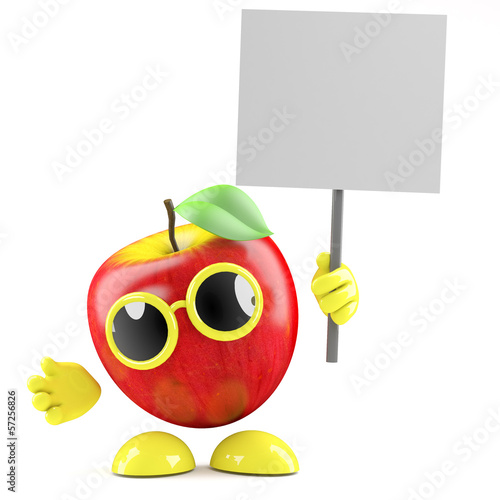 3d Apple holds a blank placard