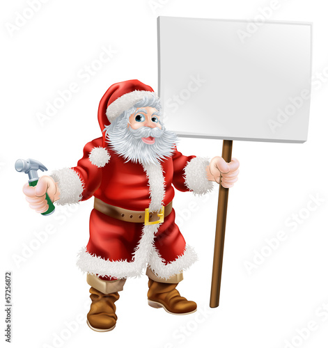 Santa holding hammer and sign