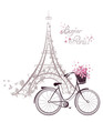 Leinwanddruck Bild - Bonjour Paris text with Eiffel Tower and bicycle
