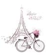 Leinwandbild Motiv Bonjour Paris text with Eiffel Tower and bicycle