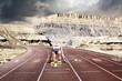 Leinwandbild Motiv Woman mountain start