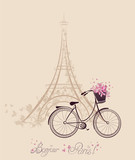Romantic postcard from Paris. Eiffel Tower and bicycle