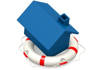 Life buoy with blue house