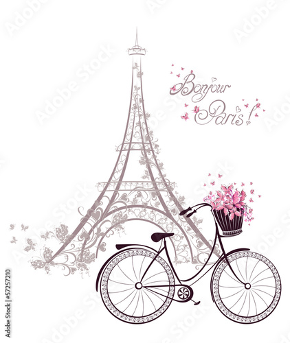 Bonjour Paris text with Eiffel Tower and bicycle - 57257210