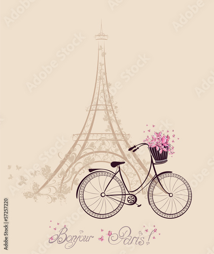 Romantic postcard from Paris. Eiffel Tower and bicycle © Mari79