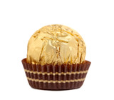 Close up of gold chocolate bonbon.