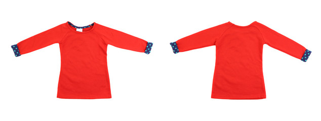 Two red t-shirt with blue cuffs.