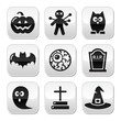 Halloween buttons set - pumpkin, witch, ghost, grave
