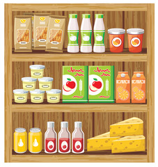 Supermarket. Shelfs with food