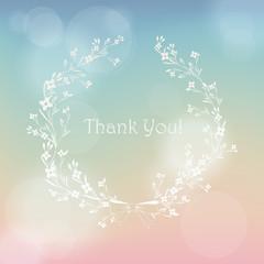 Floral wreath frame vector thank you card