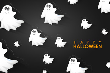Halloween Background with flying Boo Ghost