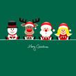Snowman, Rudolph, Santa & Angel Gift Green