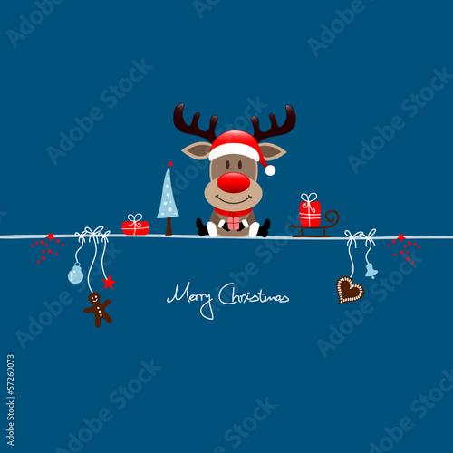 Christmas Reindeer Gift & Symbols Blue