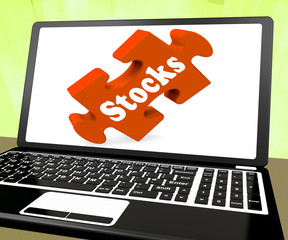 Stocks Laptop Shows Investors Shares Dow And Stock Market