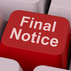 Final Notice Key Shows Last Reminder Online