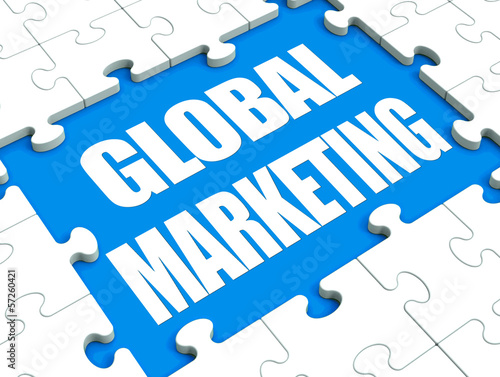 Global Marketing Puzzle Shows International Advertising Or Promo