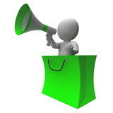 Loud Hailer Shopping Character Shows Sales Or Discounts