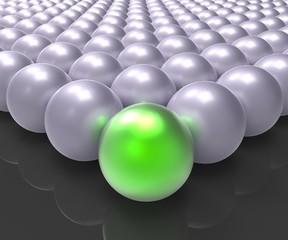 Leading Metallic Ball Showing Leadership Or Winner