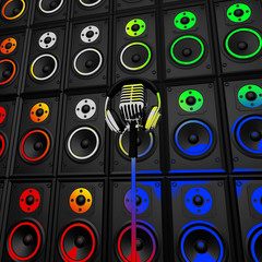 Headphones Microphone And Speakers Show Music Performance Or Ent
