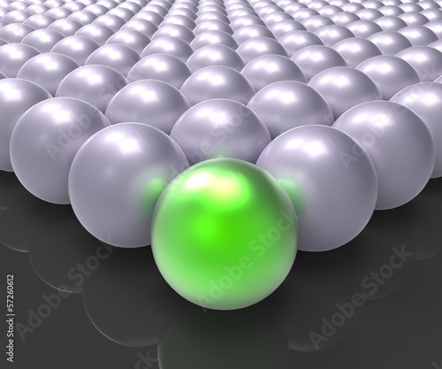 Leading Metallic Ball Showing Leadership Or Winner