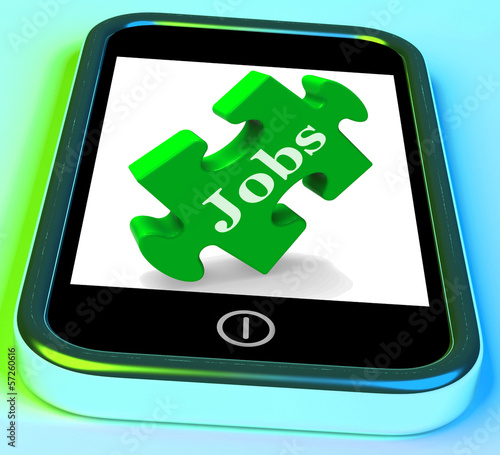 Jobs Phone Shows Unemployment Employment Or Mobile Hiring