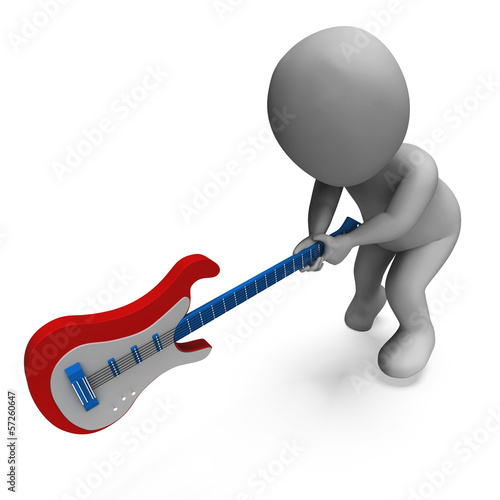 Angry Guitarist Smashing Guitar Shows Rock Music