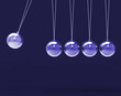 Five Silver Newtons Cradle Shows Blank Spheres Copyspace For 5 L