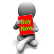 Buy Now Character Tablet Showing Buying And Purchasing Immediate