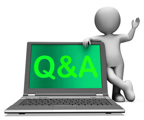 Q&a Laptop Shows Question And Answer Online