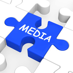 Media Jigsaw Shows Multimedia Newspapers Radio Or Tv