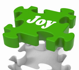 Joy Puzzle Shows Cheerful Joyful And Enjoy