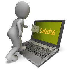 Contact Us On Laptop Shows Helpdesk Communication And Help