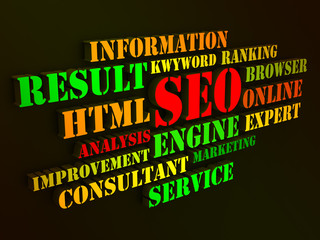 Seo Words Show Websites Search Engine Optimization Or Optimizing