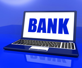 Bank On Laptop Shows Online Or Electronic Banking