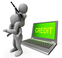 Credit Laptop Characters Show Borrowers Or Loans For Buying