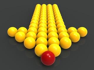 Leading Metallic Balls In Arrow Showing Leadership