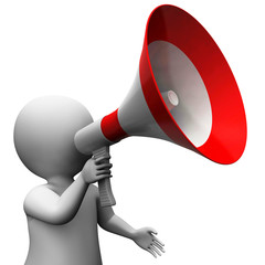 Megaphone Character Shows Speech Shouting Announcing And Announc