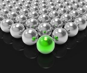 Leading Metallic Ball Shows Leadership Or Winning