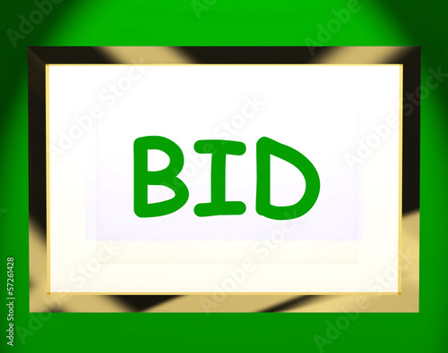 Bid On Screen Shows Bidding Bidder Or Auction