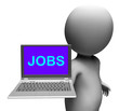 Jobs On Laptop Shows Unemployment Employment Or Hiring Online
