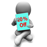 Twenty Percent Off Tablet Means 20% Discount Or Sale Online