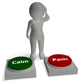 Calm Panic Buttons Show Panicking Or Calmness