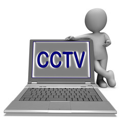 CCTV Laptop Shows Surveillance Protection Or Monitoring Online